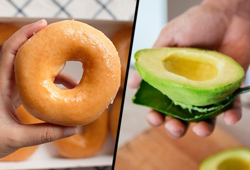 Does a glazed doughnut or avocado have more saturated fat?