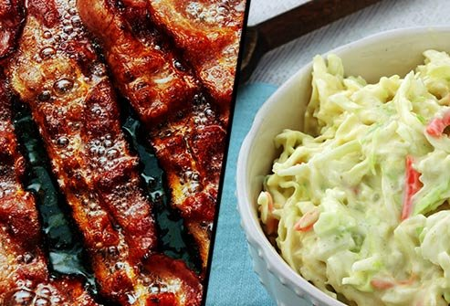 Does bacon or cole slaw have more saturated fat?