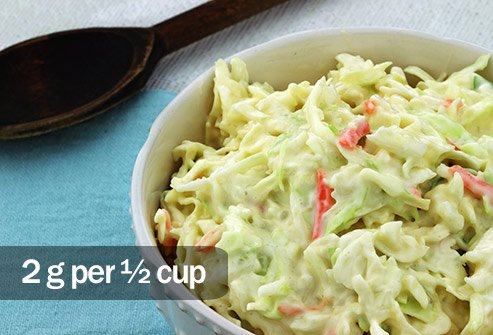 Traditional cole slaw made with mayonnaise has more saturated fat than bacon.