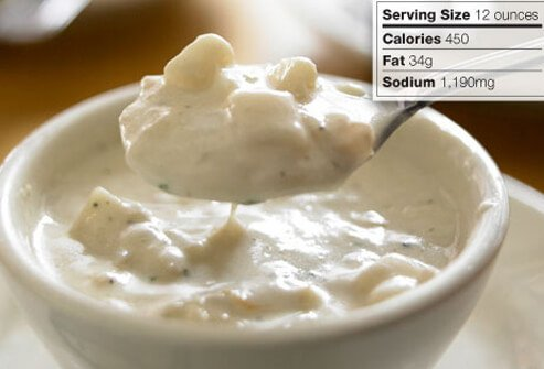 Photo of clam chowder.