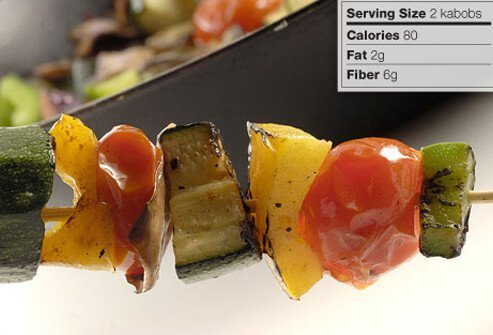 Photo of a veggie kabob.