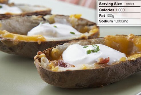 Photo of loaded potato skins.