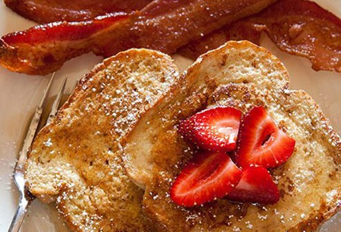 Photo of french toast and bacon.