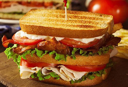 Photo of club sandwich.